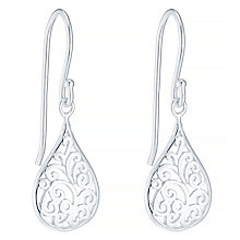 Sterling Silver Pear Shaped Filigree Drop Earrings - Product number 4863488