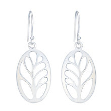 Sterling Silver Large Oval Leaf Patterned Drop Earrings - Product number 4863496