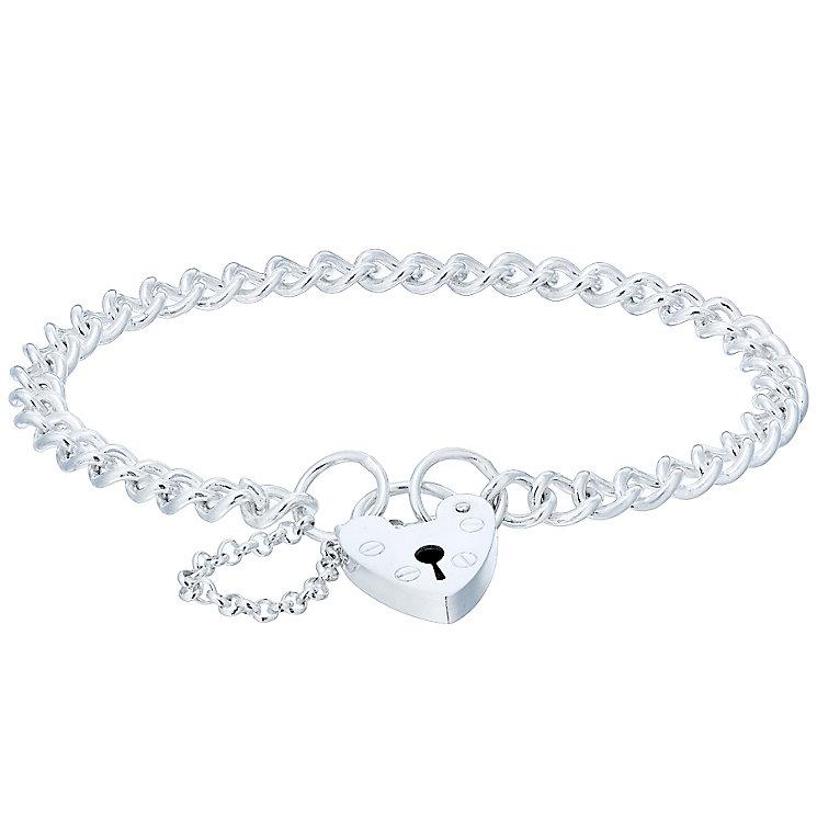 Sterling Silver Large Padlock Charm Bracelet - Product number 4863542