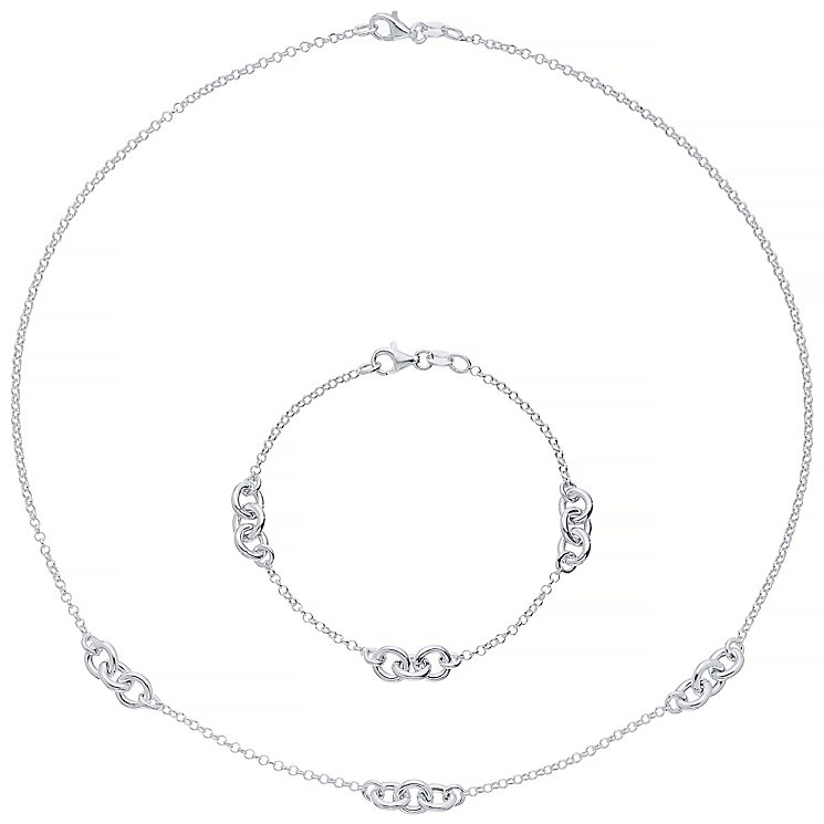 Sterling Silver Triple Link Bracelet & Necklace Set - Product number 4863607