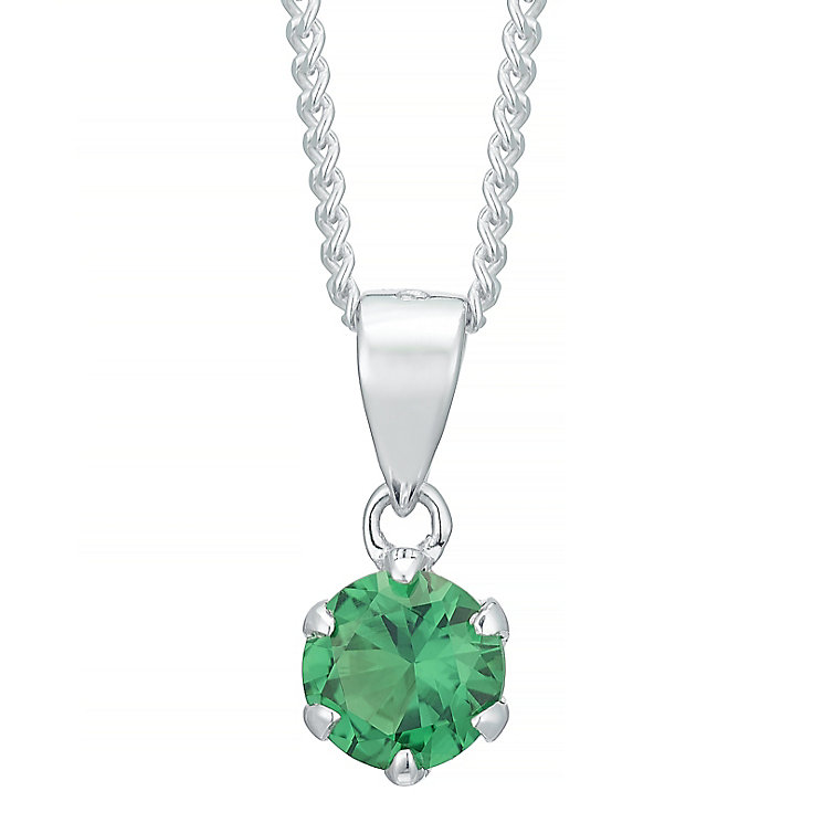 Sterling Silver Dark Green Cubic Zirconia Solitaire Pendant - Product number 4863933
