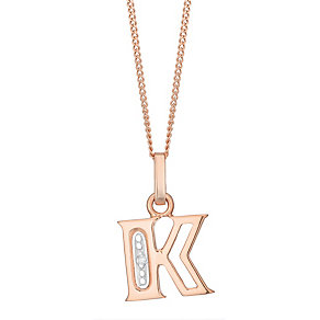 9ct Rose Gold Diamond Set Initial K Pendant - Product number 4865057
