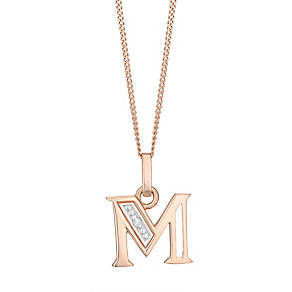 9ct Rose Gold Diamond Set Initial M Pendant - Product number 4865138