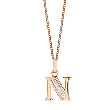 9ct Rose Gold Diamond Set Initial N Pendant - Product number 4865219