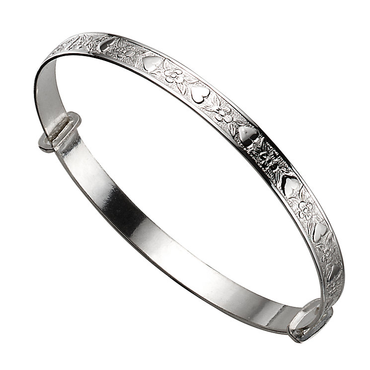 Child's Silver Heart and Flower Expander Bangle - Product number 4865286