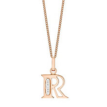 9ct Rose Gold Diamond Set Initial R Pendant - Product number 4865480