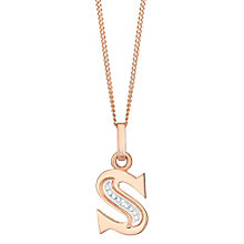 9ct Rose Gold Diamond Set Initial S Pendant - Product number 4867084
