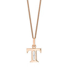 9ct Rose Gold Diamond Set Initial T Pendant - Product number 4867106