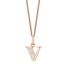 9ct Rose Gold Diamond Set Initial V Pendant - Product number 4867149
