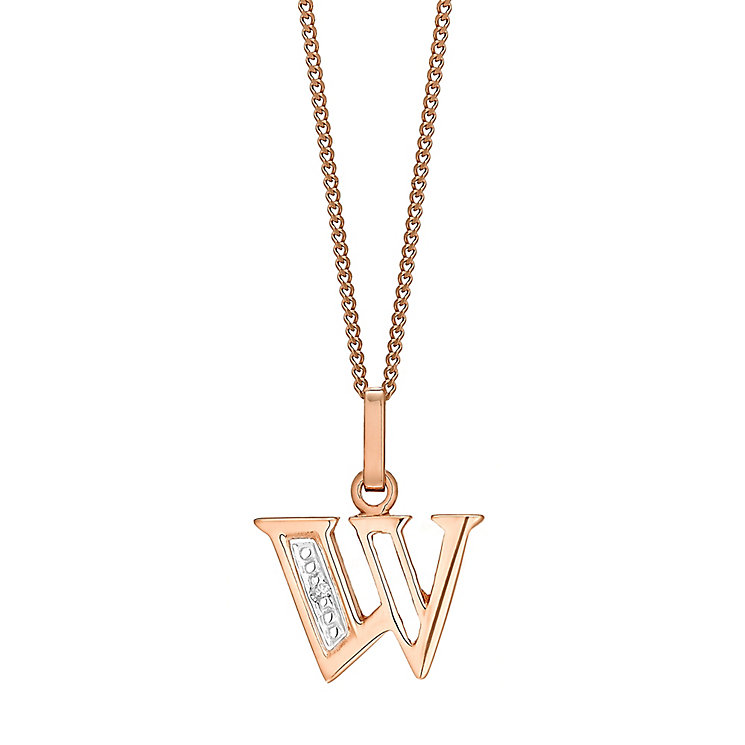 9ct Rose Gold Diamond Set Initial W Pendant - Product number 4867238