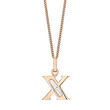 9ct Rose Gold Diamond Set Initial X Pendant - Product number 4867262