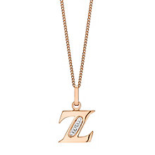 9ct Rose Gold Diamond Set Initial Z Pendant - Product number 4867319