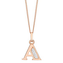 9ct Rose Gold Diamond Set Initial A Pendant - Product number 4867335