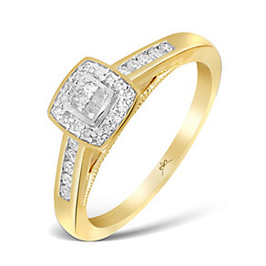 9ct Yellow Gold 1/4 Carat Princessa Diamond Cluster Ring - Product number 4873971