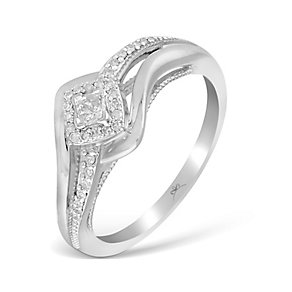 9ct White Gold 1/5 Carat Wrap Princessa Diamond Cluster Ring - Product number 4874145