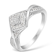 9ct White Gold Princessa Diamond Cluster Twist Ring - Product number 4874439
