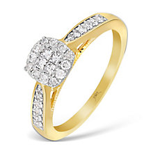 9ct Yellow Gold 1/3 Carat Princessa Diamond Cluster Ring - Product number 4874773