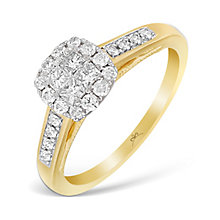 9ct Yellow Gold 1/2 Carat Princessa Diamond Cluster Ring - Product number 4875052
