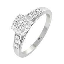 9ct White Gold 1/3 Carat Diamond Square Cluster Ring - Product number 4875273