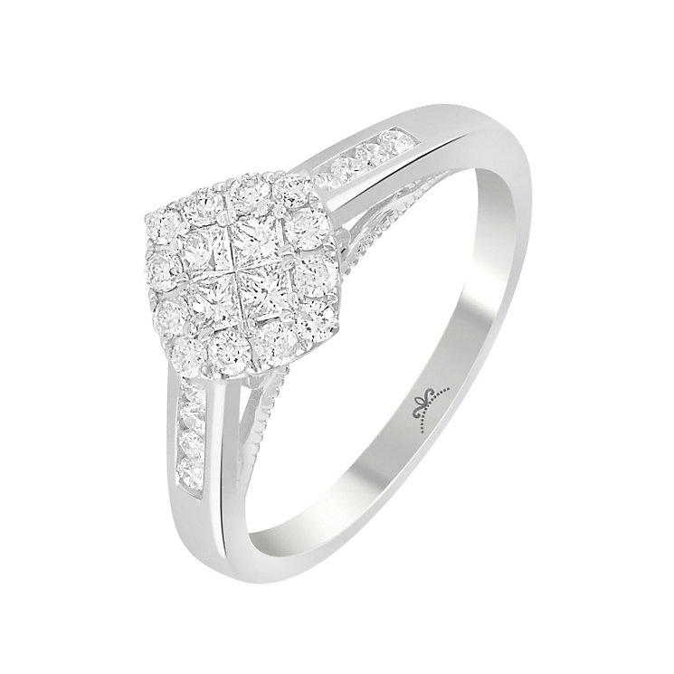 9ct White Gold 1/2 Carat Diamond Square Cluster Ring - Product number 4875877