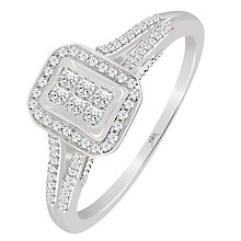 9ct White Gold 1/4 Carat Diamond Rectangular Princessa Ring - Product number 4876296