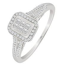 9ct White Gold 1/4 Carat Diamond Rectangular Princessa Ring - Product number 4876296