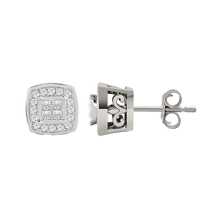9ct White Gold 15 0.15 Carat Diamond Princessa Stud Earrings - Product number 4877136
