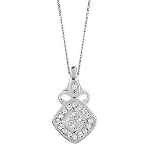9ct White Gold 0.10 Carat Diamond Princessa Pendant - Product number 4878469