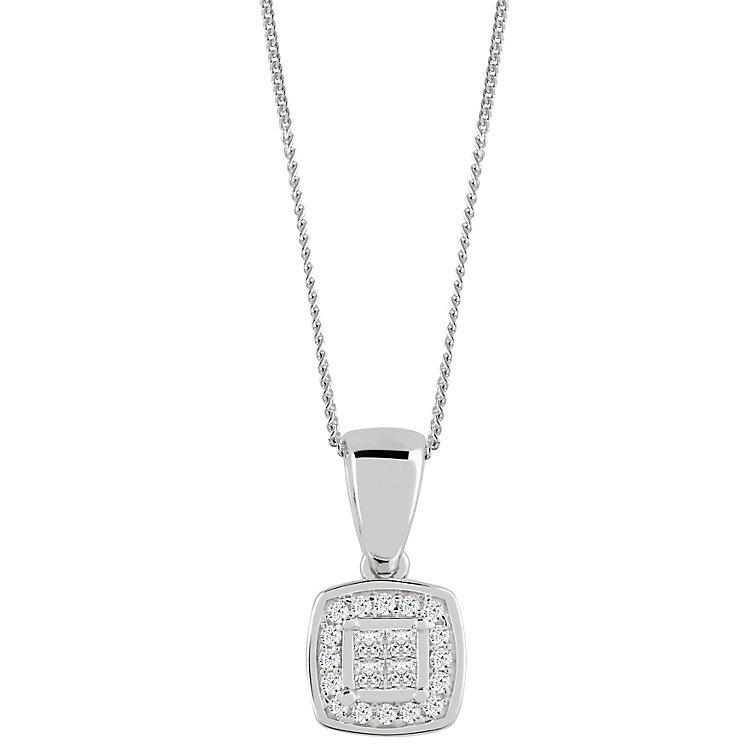 9ct White Gold 0.10 Carat Diamond Princessa Pendant - Product number 4878825