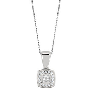 9ct White Gold 0.10 Carat Diamond Princessa Pendant - Product number 4878825
