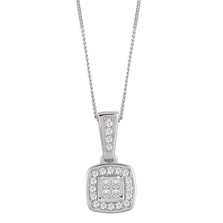 9ct White Gold 0.10 Carat Diamond Princessa Pendant - Product number 4878841