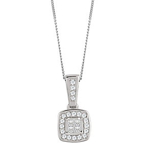 9ct White Gold 0.10 Carat Diamond Princessa Pendant - Product number 4878841