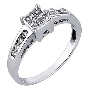 18ct White Gold 1/3 Carat Princessa Diamond Ring - Product number 4879422