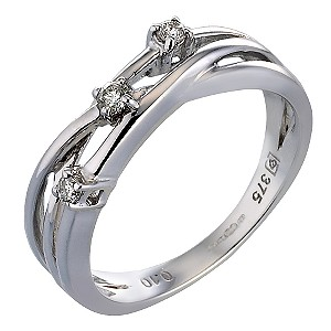 9ct White Gold 1/10 Carat Diamond Three Stone Ring