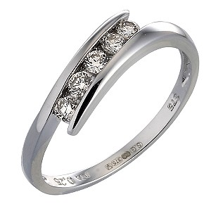 9ct White Gold Quarter Carat Diamond Eternity Ring