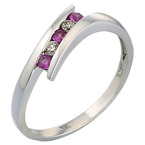 9ct White Gold Diamond and Pink Sapphire Ring - Product number 4883551