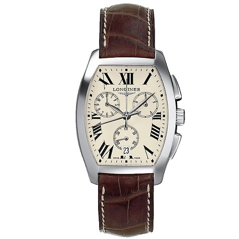 Longines Evidenza mens leather strap watch