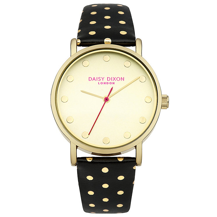 Daisy Dixon Candice Ladies' Gold Polka Dot Black Strap Watch - Product number 4896688