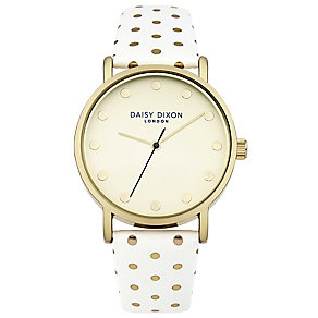 Daisy Dixon Candice Ladies' Gold Polka Dot White Strap Watch - Product number 4896726