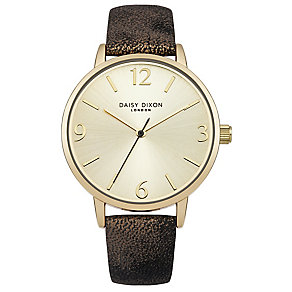 Daisy Dixon Rosie Ladies' Gold Metallic Leather Strap Watch - Product number 4896939