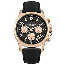 Daisy Dixon Adriana Ladies' Black Leather Strap Watch - Product number 4897196