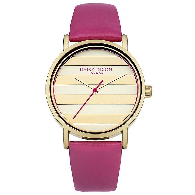 Daisy Dixon Poppy Ladies' Gold Dial Pink Leather Strap Watch - Product number 4897277