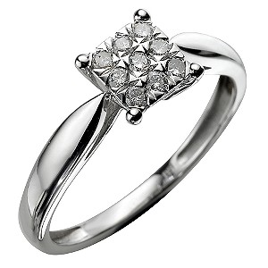 9ct White Gold 15 Points Ring