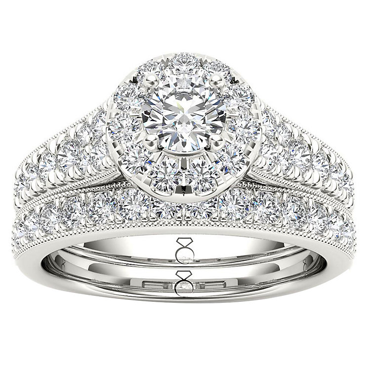 The Diamond Story 18ct White Gold 1ct Halo Bridal Set - Product number 4899695