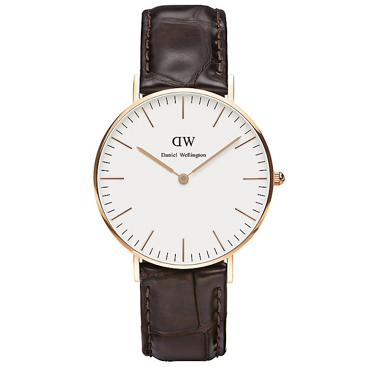 Daniel Wellington York Ladies' Brown Leather Strap Watch - Product number 4899822