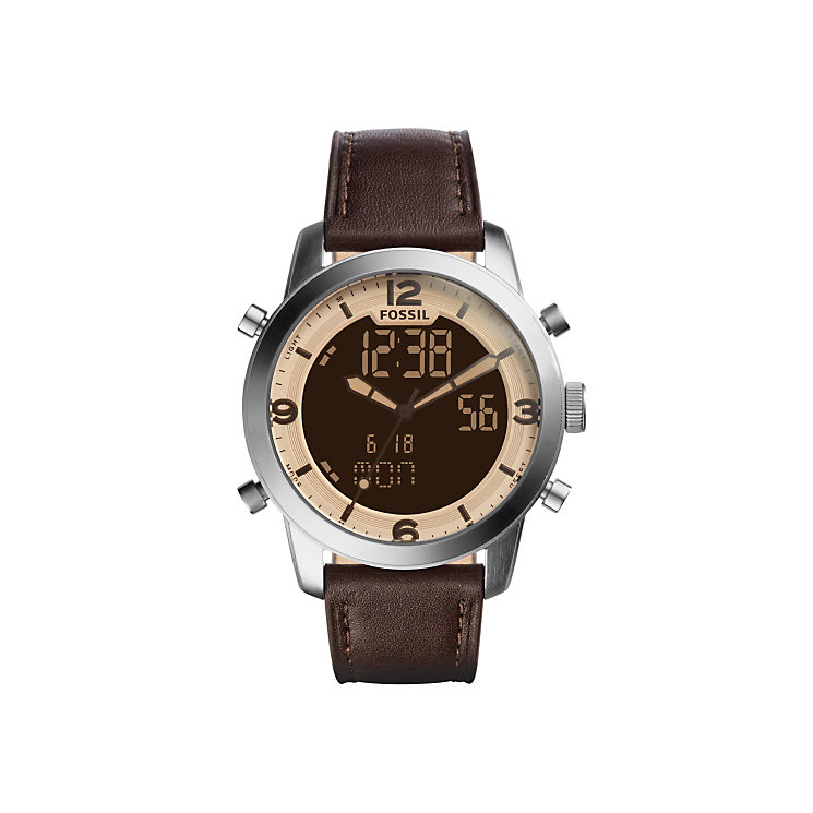 Fossil Men's Stainless Steel Brown Strap Watch - Product number 4904419