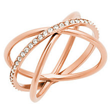 Michael Kors Rose Gold Tone Stone Set Ring Size N - Product number 4907671
