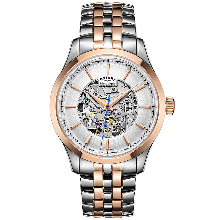 Rotary Men's Two Colour Skeleton Bracelet Watch - Product number 4909682