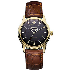 Vivienne Westwood Men's Gold Tone Black Strap Watch - Product number 4913051