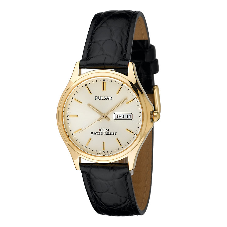 Pulsar Men's Black Leather Strap Watch - Product number 4913566